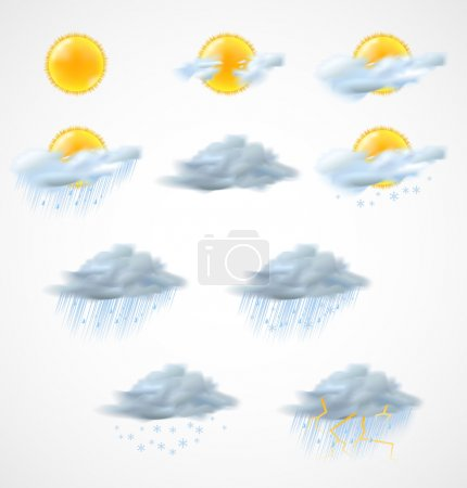 Illustration for High quality weather icons set. Vector illustration - Royalty Free Image
