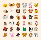 Set of cute animal face icon