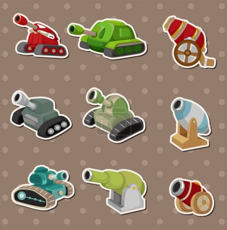 cartoon Tank and Cannon Weapon stickers