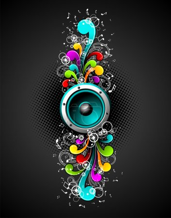 Vector speakers with colorfull grunge floral elements on a dark background.