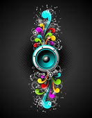 Vector speakers with colorfull grunge floral elements on a dark background