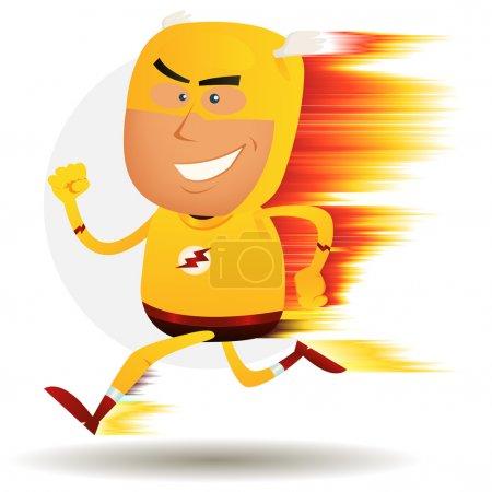 Illustration pour Illustration d'un super héros heureux de bande dessinée courir plus vite qu'un boulon ligthning avec effet de vitesse visuelle - image libre de droit