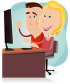 Boldog anya és apa működő asztali számítógépen