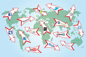Social network arrows on abstract world map global communication concept