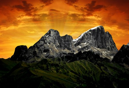 Mountain Marmolada in the sunset