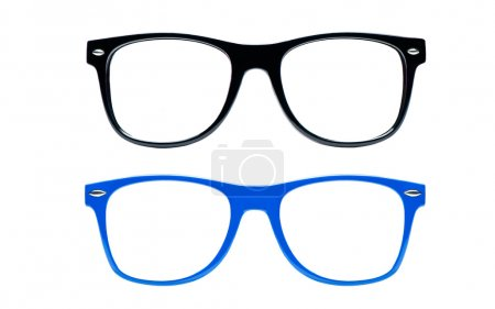 Photo for Two nerd Glasses on white background with clipping path, place for text, picture, Set of nerd Glasses - Royalty Free Image