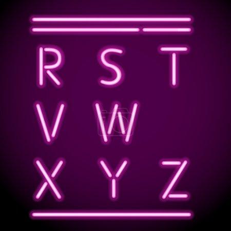 Vector Neon Light Alphabet, R-Z