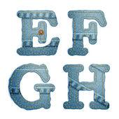 Denim alphabet Jeans letters E F G H