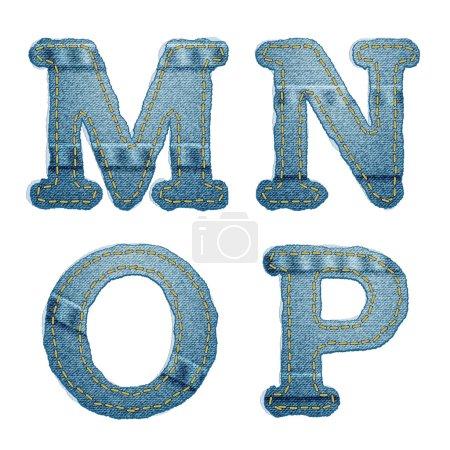 Denim alphabet. Jeans letters M N O P