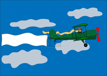 Airplane, banner, biplane, vector illustration