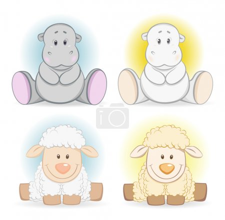 Illustration for Cartoon hippo and sheep baby toy. Editable EPS 8 - Royalty Free Image