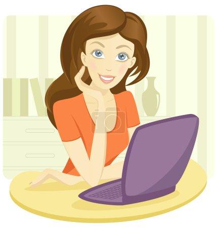 Illustration pour Illustration vectorielle de jolie jeune fille assise avec un ordinateur portable. SPE modifiable 8 - image libre de droit