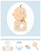 Cartoon baby boy with milk bottle and toy icons