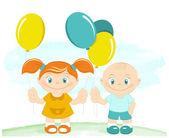 šťastný chlapec a dívka s hračkou balónky