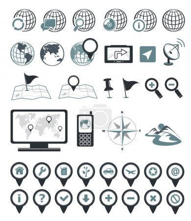 Illustration for Location and destination icons. Editable vector set - Royalty Free Image
