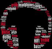 Headphones music tagcloud