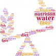 Pictogram concept of balanced diet with two foods on a scale