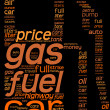 Fuel station pictogram tag cloud with orange and y...