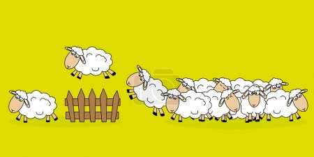 Illustration for Stickers children's room. Sheep jumping a fence - Royalty Free Image