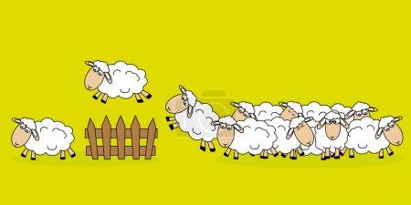 Illustration pour Stickers chambre d'enfant. Moutons sautant une clôture - image libre de droit