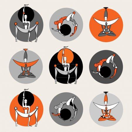 Illustration pour Ensemble de yoga élégant. Illustration vectorielle . - image libre de droit