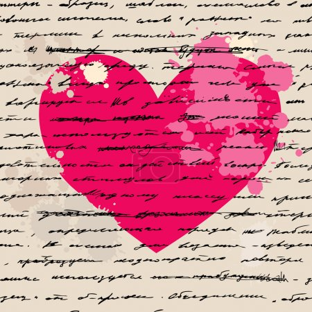 Illustration for Heart design elements. Love. Handwriting vector background. - Royalty Free Image