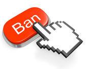 červená zákaz tlačítko a rukou kurzor