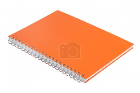 Photo for Notebook with an orange cover on a white background - Royalty Free Image