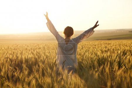 Photo for Woman with arms outstretched in a wheat field - Royalty Free Image