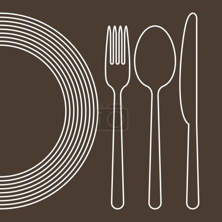 Illustration pour Assiette, couteau, cuillère et fourchette - image libre de droit