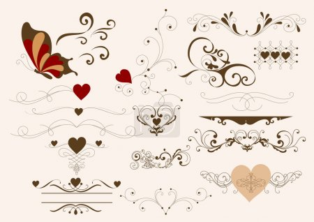Illustration for Decorative elements for calligraphic valentine design. Calligraphic vector - Royalty Free Image