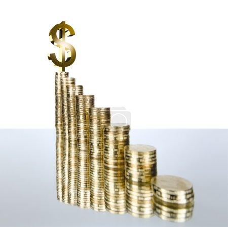 Photo pour Très nombreux rouleau d'or monétaire ou pièce de monnaie, sur fond blanc, isolé - image libre de droit