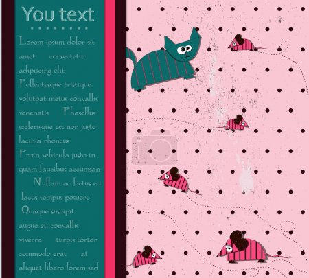 Illustration for Seamless polka dot background with cat and mouse. vector eps10 - Royalty Free Image