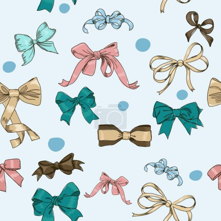 Illustration for Semless texture with vintage bows. vector illustration EPS8 - Royalty Free Image