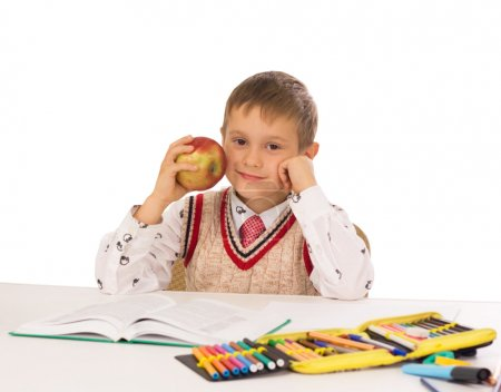 Portrait of a young boy in school at the desk