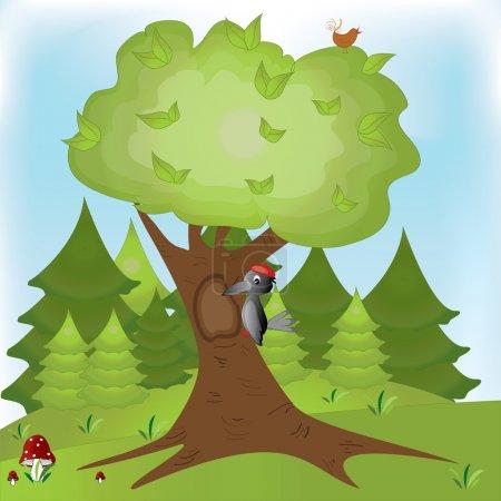 Illustration of woodpecker bird on a tree