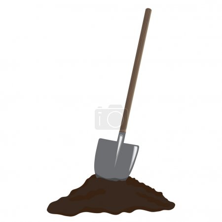 Shovel in heap of dirt