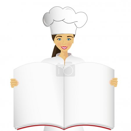 Photo for Cook holds an open book, vector image - Royalty Free Image