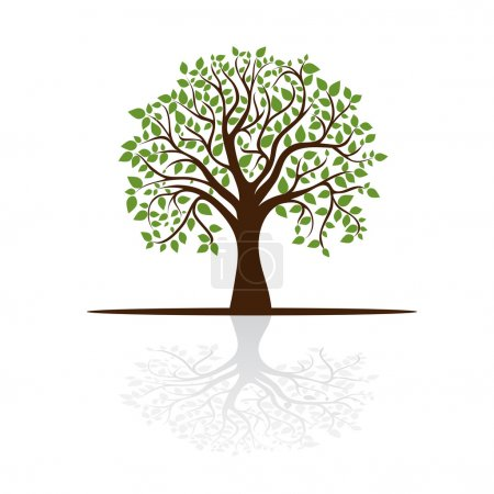 Illustration for Tree casts a shadow, a place for text, vector - Royalty Free Image