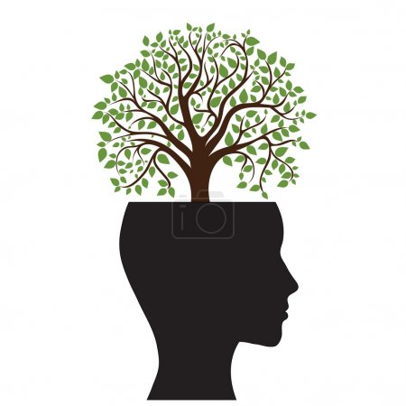 Illustration for Tree silhouette of a man's head, vector image - Royalty Free Image