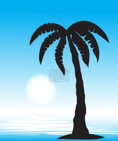 Tropical beach with palm tree. vector,