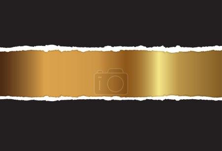 Illustration pour L'or est une feuille de papier noir déchiqueté - image libre de droit