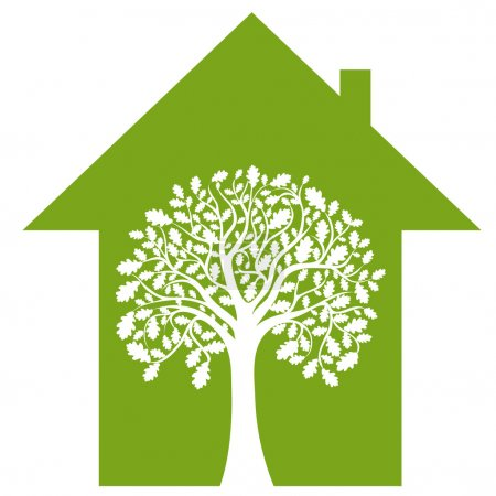 Illustration for Abstract house and green tree, vector image - Royalty Free Image