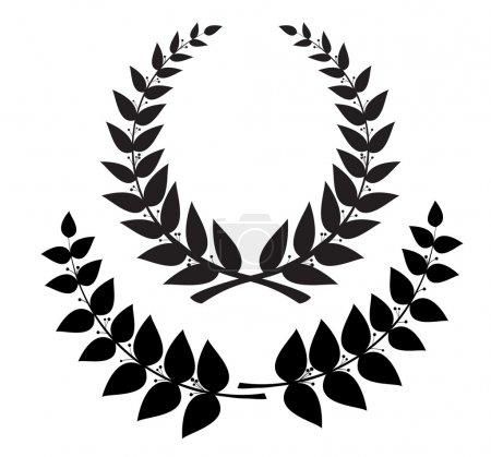 Illustration for Set black wreath and laurel branch, vector eps10 - Royalty Free Image