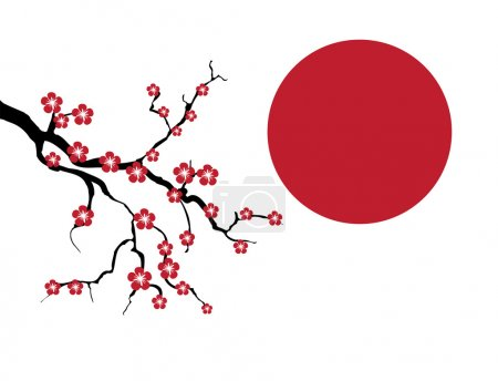 Illustration for Blossoming cherry tree branch against a red sun. vector - Royalty Free Image