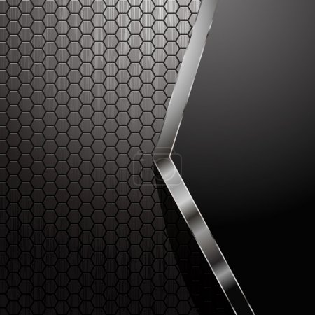 Illustration for Metallic backdrop with hexagon grid and copy space - Royalty Free Image