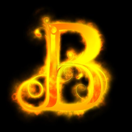 Letras rojas de fuego, B