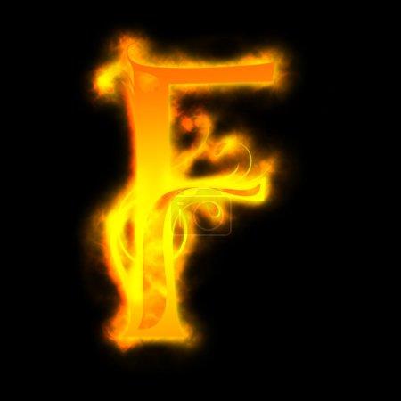 Red fiery letters, F