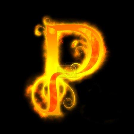 Letras rojas de fuego, P