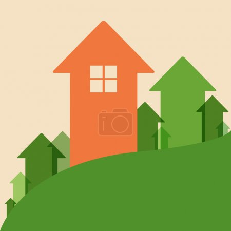 Illustration for Home Value, House Values and Prices Up, Vector Illustration - Royalty Free Image